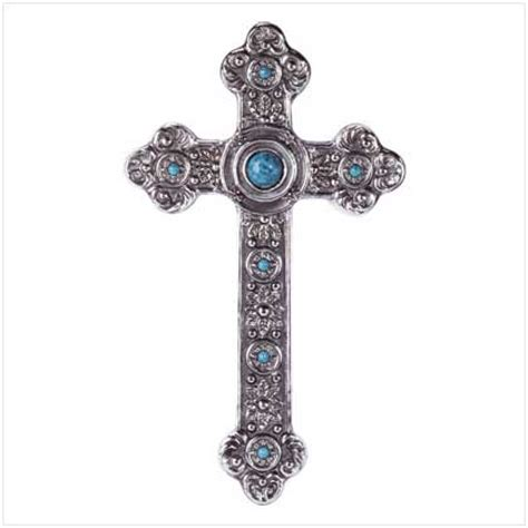 Home Decor Crosses by Style Wall Cross Silver Turquoise Home Decor New