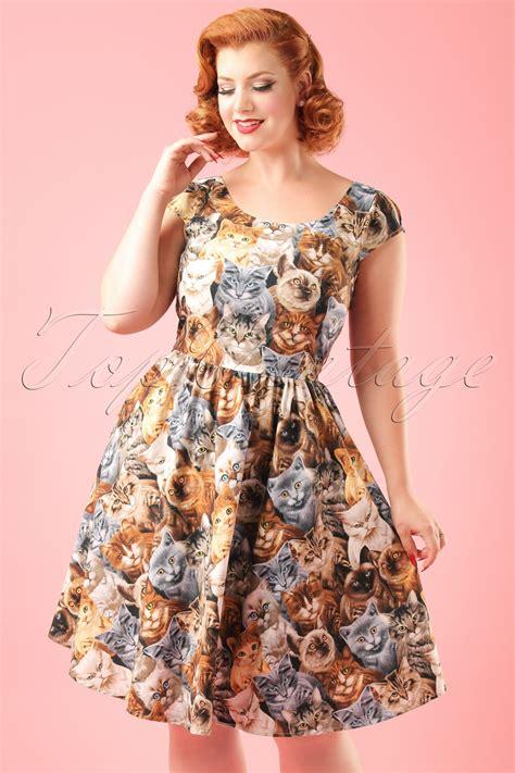 Dress Cat 2warna Fit L 50s purrfect cat dress