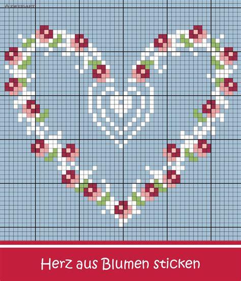 Moderne Kreuzstichvorlagen romantisches herz aus blumen sticken sticken kreuzstich liebe herz embroidery