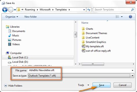 save email create email templates in outlook 2010 2013 for new