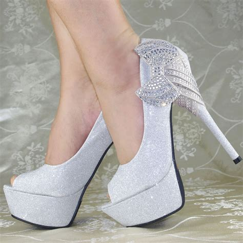 glitter royal bows platform high heels princess