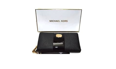 Michael Kors Gift Card Discount - michael kors gift box center stripe continental travel wallet black groupon