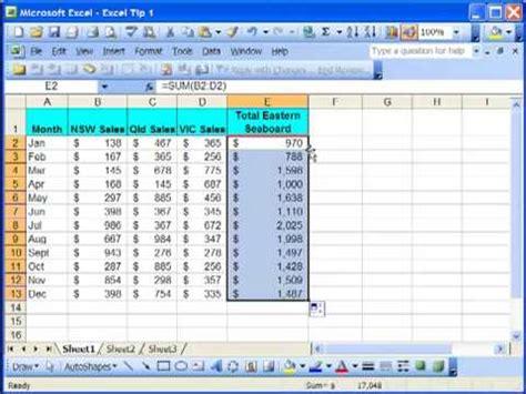 tutorial excel formulas 2007 excel tutorial tip 1 copy formula down column excel