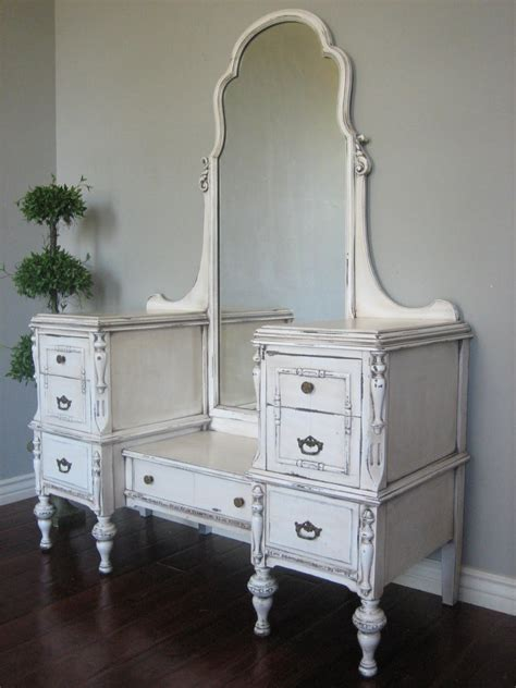 Vintage Dresser Vanity by European Paint Finishes Antiqued Ivory Dressing Vanity