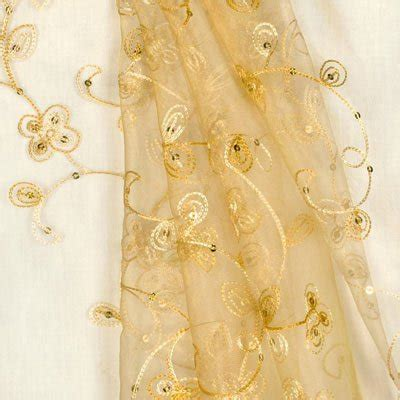 Kain Organza 3d gold sequin embroidered organza fabric onlinefabricstore net