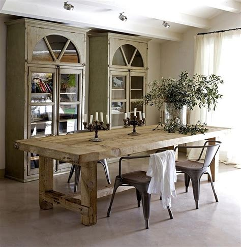 dinning room table 47 calm and airy rustic dining room designs digsdigs