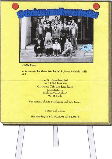 Muster Einladung Klassentreffen Kostenlos Klassentreffen 1998