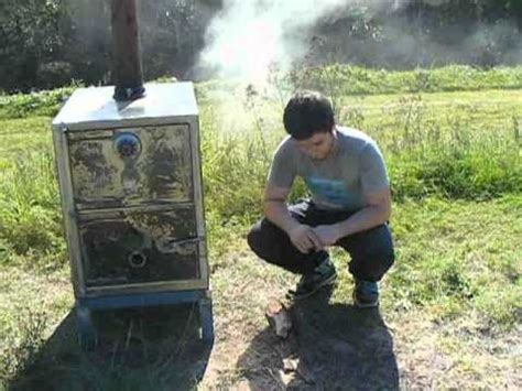log burning woodstove made from a safe