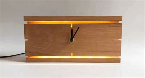 square wooden wall clock  led night light feelgift
