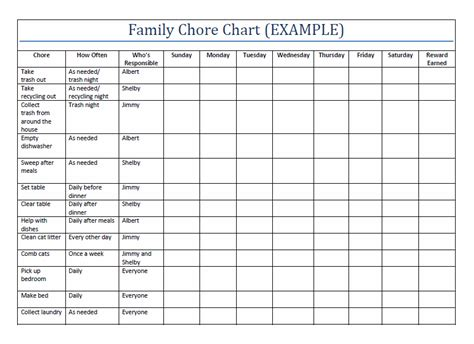 household chore printable family chore charts template more famil