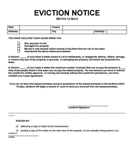 12 free eviction notice templates for download designyep
