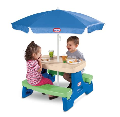 tikes easy store picnic table with blue umbrella tikes easy store junior picnic table with umbrella