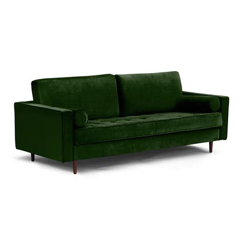 Mid Century Modern Tufted Sofa With Bolster Pillows Mod Sofa Bolster Pillows