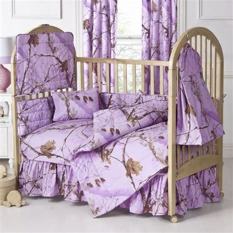real tree all purpose purple camo 3pc baby crib bedding