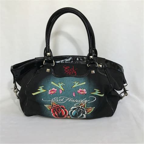 ed hardy ed hardy large satchel tote bag from su