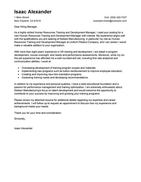 Career Development Manager Cover Letter by And Development Cover Letter Exles Human Resources Cover Letter Sles Livecareer