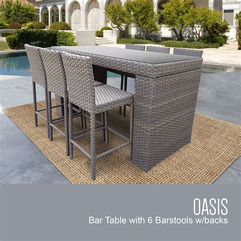 oasis bar table set  barstools  piece outdoor wicker