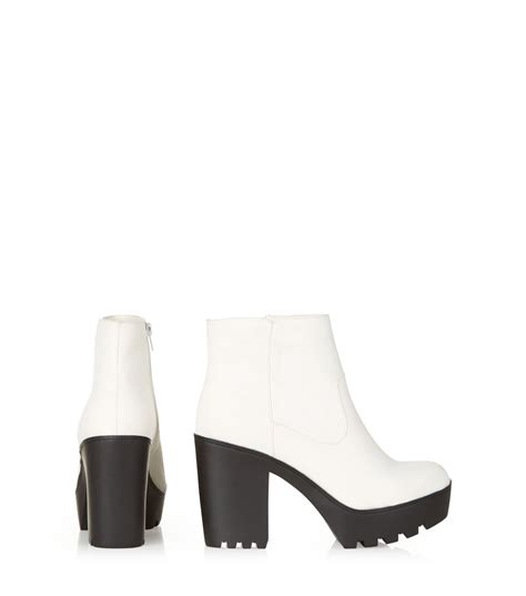 white chunky block heel boots