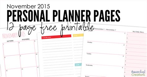 day planner november 2015 november 2015 personal planner pages free printable