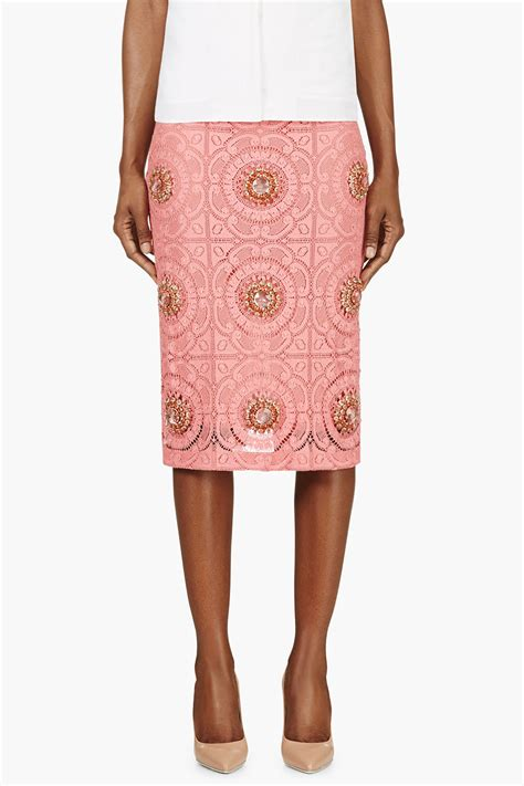 burberry prorsum pink lace overlay embellished pencil