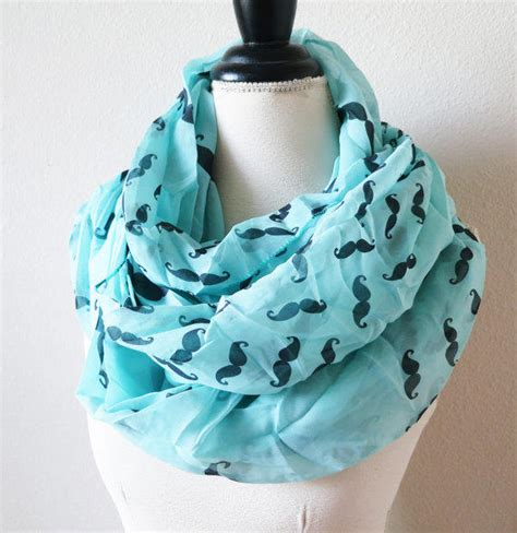 on sale blue scarf mustache infinity from infinityscarfs on