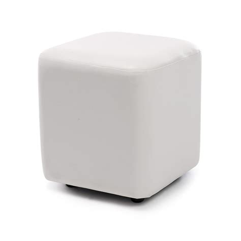 White Leather Cube Stool by Seville Leather Cube Stool