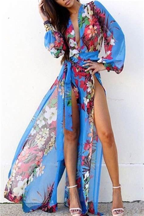 41345 Flower With Slit S M L Dress dress summer floral maxi floral floral