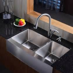 stainless steel kitchen sinks kraus khf203 36 kpf2120 sd20 36 inch farmhouse stainless