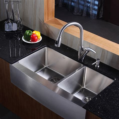 kitchen stainless steel sinks kraus khf203 36 kpf2120 sd20 36 inch farmhouse stainless