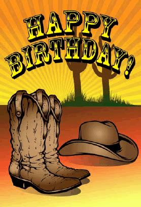western themed birthday ecards cowboy hat and boots birthday card