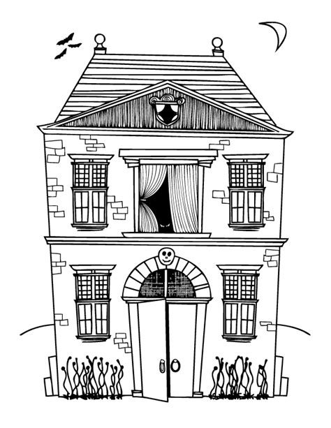 haunted house coloring page printable teaching frenzy halloween haunted houses
