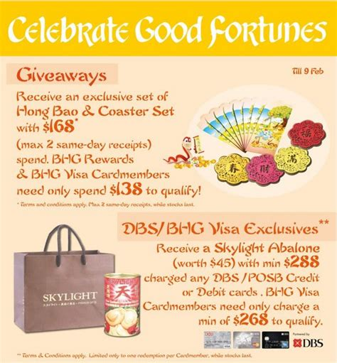 Bhg Giveaways - bhg cny giveaways dbs visa exclusives singapore great deals