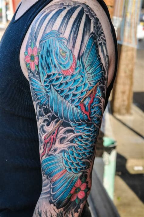 coy fish sleeve tattoo designs blue and black koi fish search ink