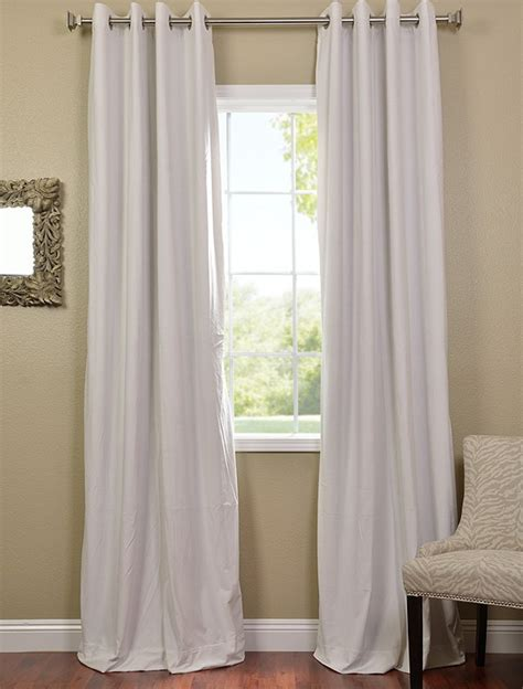 Off White Grommet Velvet Blackout Curtains Drapes Ebay