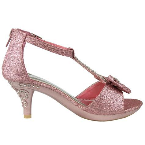 toddler high heel dress shoes dress sandals t bow accent glitter high heel