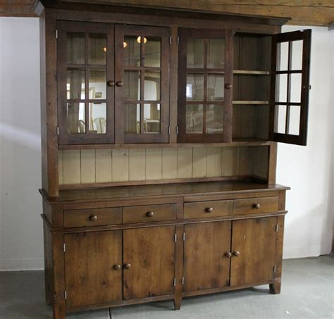 Wood Hutch Cabinet large reclaimed wood hutch traditional china cabinets and hutches boston by