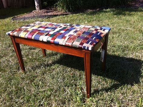 custom made benches handmade piano bench covered with woven leather recycled