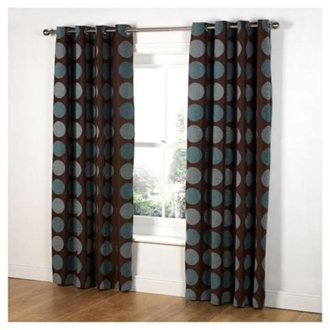 chocolate teal curtains buy tesco chenille circles lined eyelet curtains
