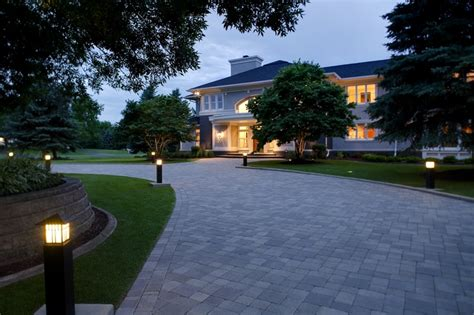 landscape lighting driveway wide paver circular driveway with bright path lights to lead the way http southviewdesign