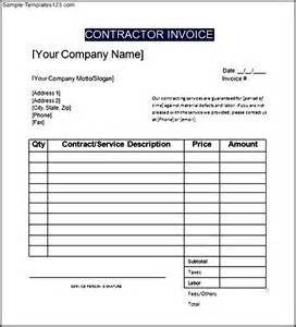 contract invoice template sle general contractor invoice template sle templates