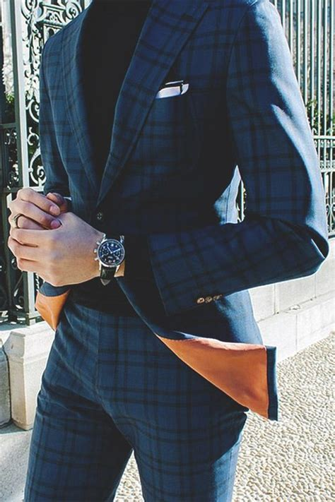 trend watch patterned pants dark blue plaid suit pictures photos and images for