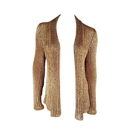 gold knit cardigan ralph collection size l metallic gold mesh knit