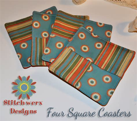 free pattern quilted coasters four square coasters free tutorial stitchwerx designs
