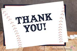 printable baseball theme thank you cards personalized