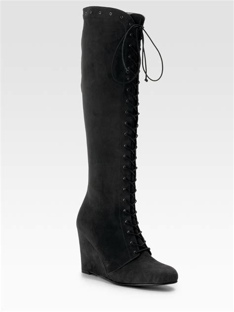 stuart weitzman suede lace up wedge boots in gray