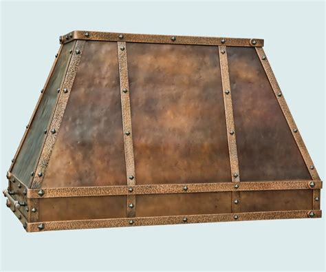Hand Crafted Copper Range Hood With Rustic Hammering By