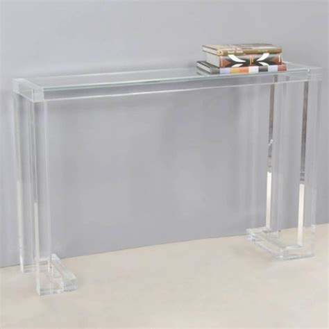lucite console table with glass top for sale at 1stdibs