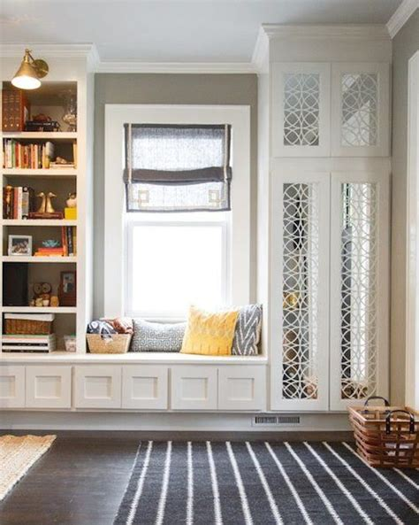 built in window bench seat window seat shelving for books and coat closet all built in