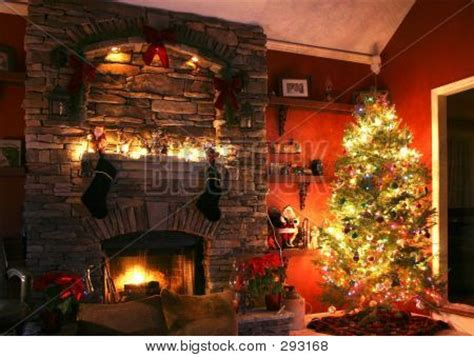 christmas tree next to fireplace image cg2p93168c