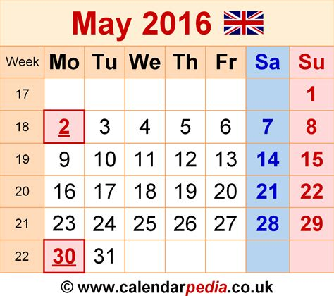 may 2016 calendars for word excel pdf calendar may 2016 uk bank holidays excel pdf word templates